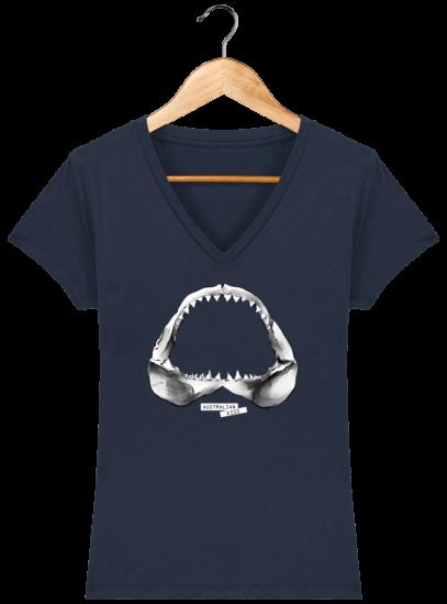 T-Shirt Femme V éthique Shark - French Navy - Face