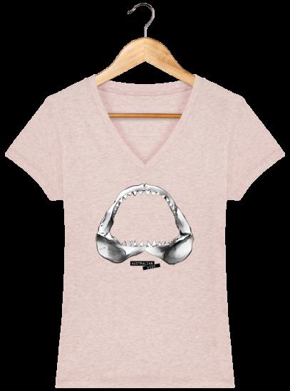 T-Shirt Femme V éthique Shark - Cream Heather Pink - Face