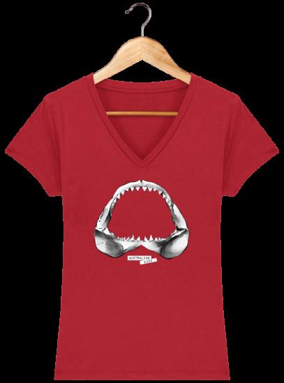 T-Shirt Femme V éthique Shark - Red - Face