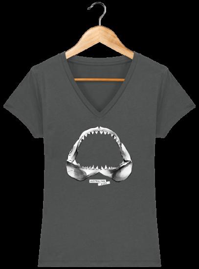 T-Shirt Femme V éthique Shark - Anthracite - Face