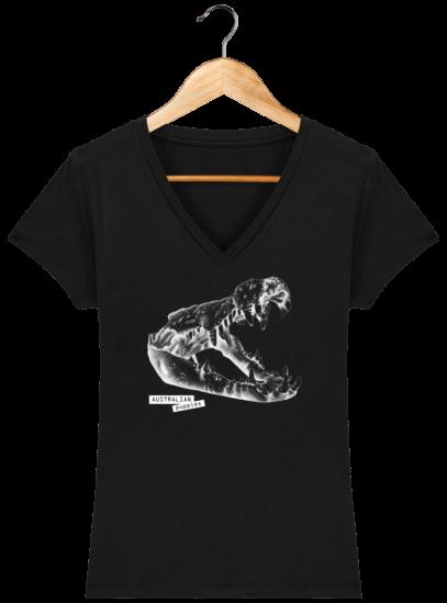 T-Shirt Femme V éthique Crocodile - Black - Face