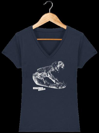 T-Shirt Femme V éthique Crocodile - French Navy - Face
