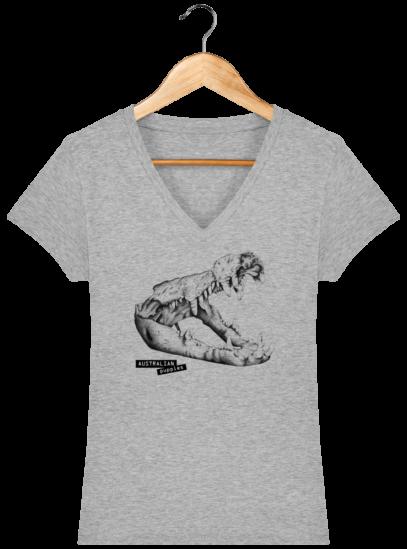T-Shirt Femme V éthique Crocodile - Heather Grey - Face