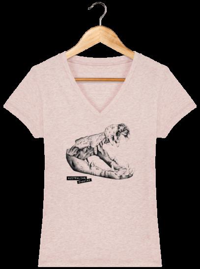 T-Shirt Femme V éthique Crocodile - Cream Heather Pink - Face
