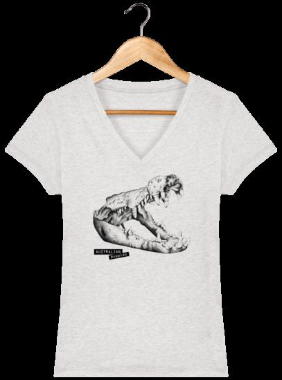 T-Shirt Femme V éthique Crocodile - Cream Heather Grey - Face