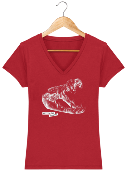T-Shirt Femme V éthique Crocodile - Red - Face