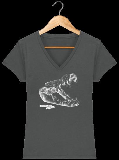 T-Shirt Femme V éthique Crocodile - Anthracite - Face
