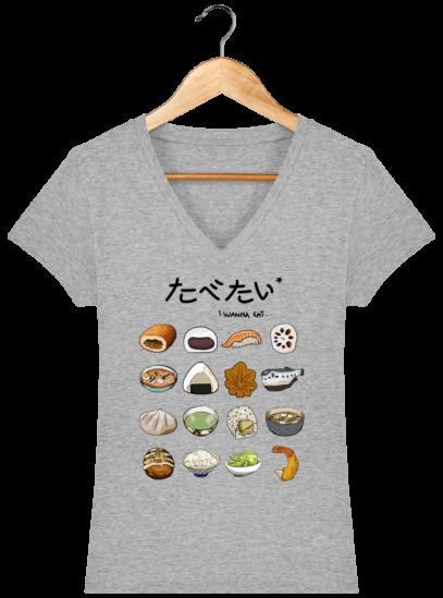 T-Shirt Femme V éthique Gastronomie Japonaise - Heather Grey - Face
