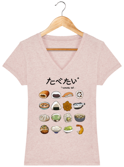 T-Shirt Femme V éthique Gastronomie Japonaise - Cream Heather Pink - Face