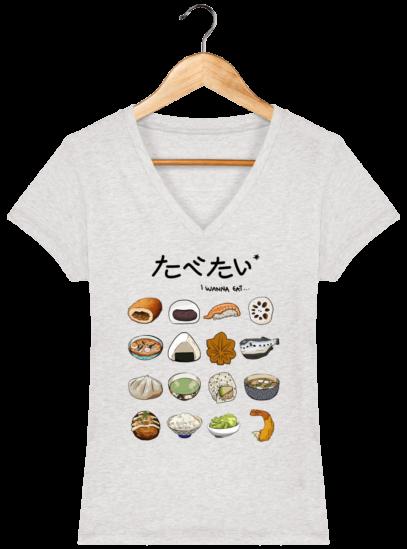 T-Shirt Femme V éthique Gastronomie Japonaise - Cream Heather Grey - Face