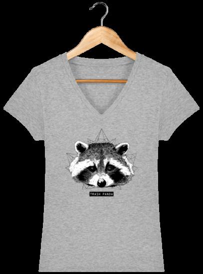 T-Shirt Femme V éthique Raton Laveur - Heather Grey - Face