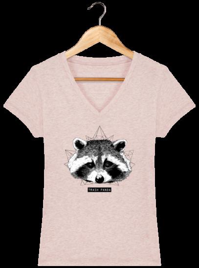 T-Shirt Femme V éthique Raton Laveur - Cream Heather Pink - Face