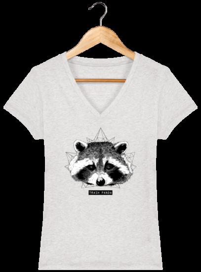 T-Shirt Femme V éthique Raton Laveur - Cream Heather Grey - Face