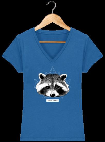T-Shirt Femme V éthique Raton Laveur - Royal Blue - Face