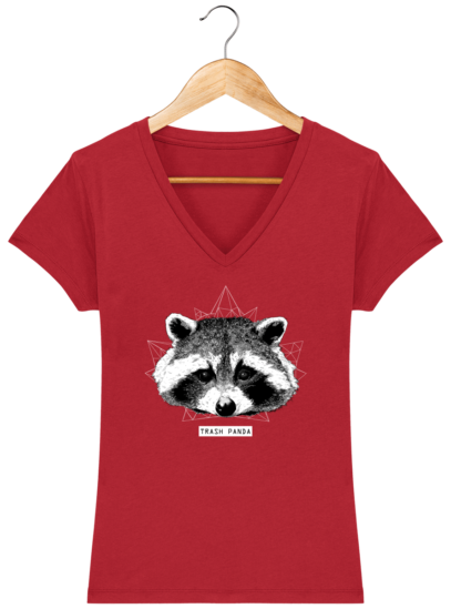 T-Shirt Femme V éthique Raton Laveur - Red - Face