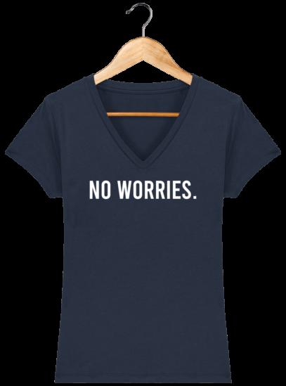T-Shirt Femme V éthique No Worries - French Navy - Face
