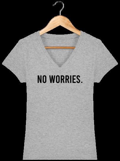 T-Shirt Femme V éthique No Worries - Heather Grey - Face