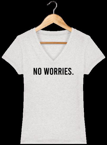 T-Shirt Femme V éthique No Worries - Cream Heather Grey - Face