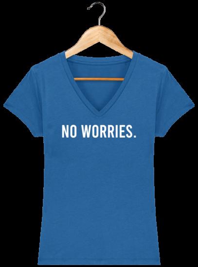 T-Shirt Femme V éthique No Worries - Royal Blue - Face