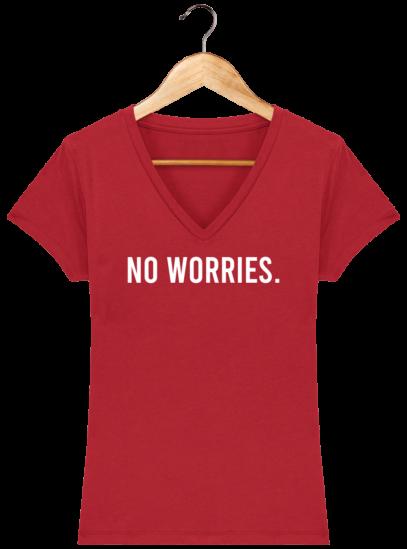 T-Shirt Femme V éthique No Worries - Red - Face