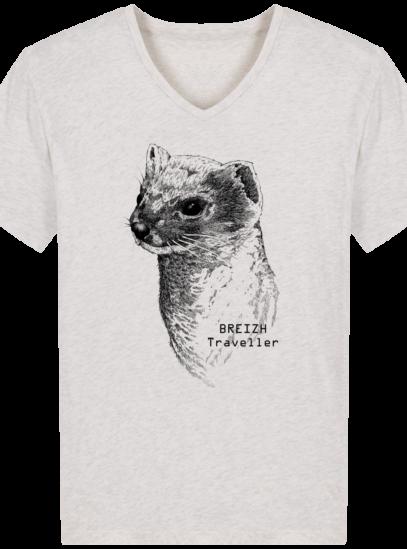 T-Shirt Homme V Breton Hermine Bretonne - Cream Heather Grey - Face