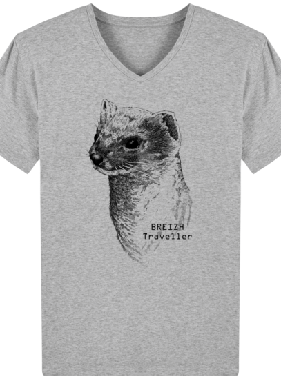 T-Shirt Homme V Breton Hermine Bretonne - Heather Grey - Face