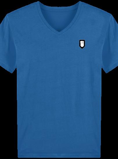 T-Shirt Homme V Breton Broderie Breizh Traveller - Royal Blue - Face
