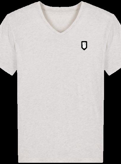 T-Shirt Homme V Breton Broderie Breizh Traveller - Cream Heather Grey - Face