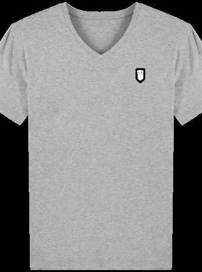 T-Shirt Homme V Breton Broderie Breizh Traveller - Heather Grey - Face