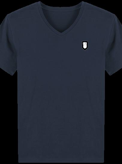 T-Shirt Homme V Breton Broderie Breizh Traveller - French Navy - Face