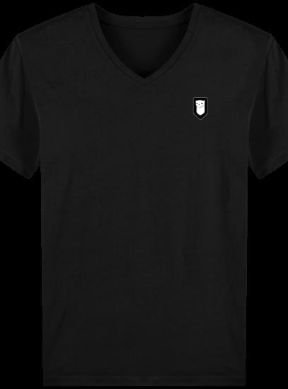T-Shirt Homme V Breton Broderie Breizh Traveller - Black - Face