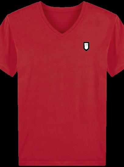 T-Shirt Homme V Breton Broderie Breizh Traveller - Red - Face
