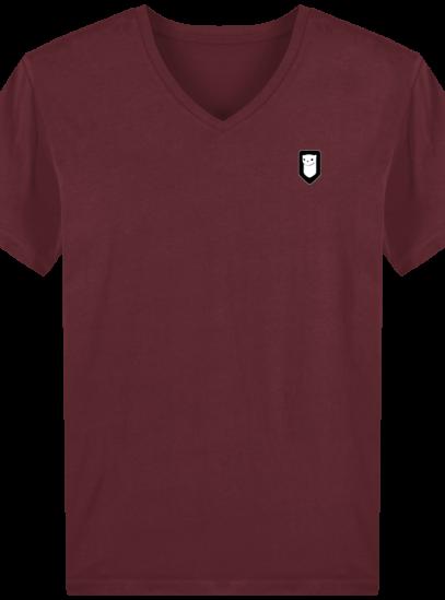 T-Shirt Homme V Breton Broderie Breizh Traveller - Burgundy - Face