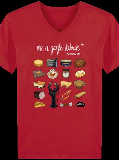 T-Shirt Homme V Breton Gastronomie Bretonne - Red - Face