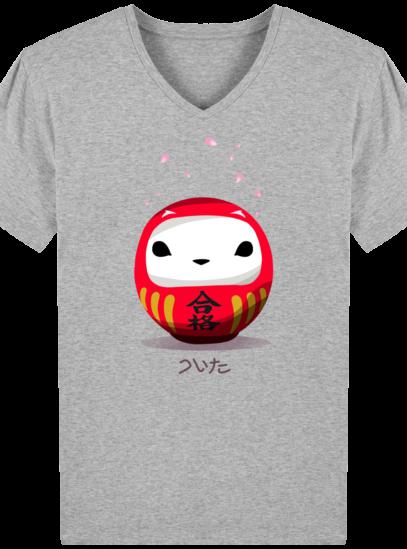 T-Shirt Homme V éthique Cerisier Japonais - Heather Grey - Face