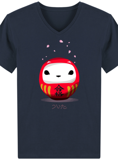 T-Shirt Homme V éthique Cerisier Japonais - French Navy - Face