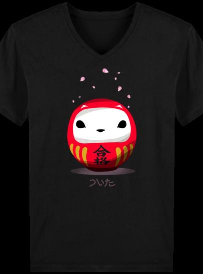 T-Shirt Homme V éthique Cerisier Japonais - Black - Face