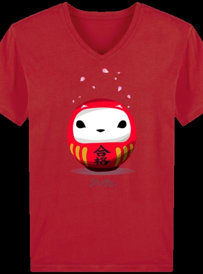T-Shirt Homme V éthique Cerisier Japonais - Red - Face