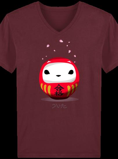 T-Shirt Homme V éthique Cerisier Japonais - Burgundy - Face
