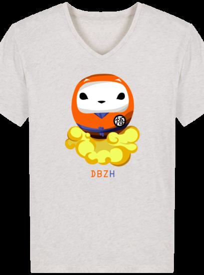 T-Shirt Homme V éthique Dragon BZH - Cream Heather Grey - Face