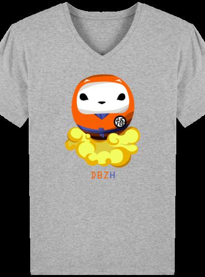 T-Shirt Homme V éthique Dragon BZH - Heather Grey - Face
