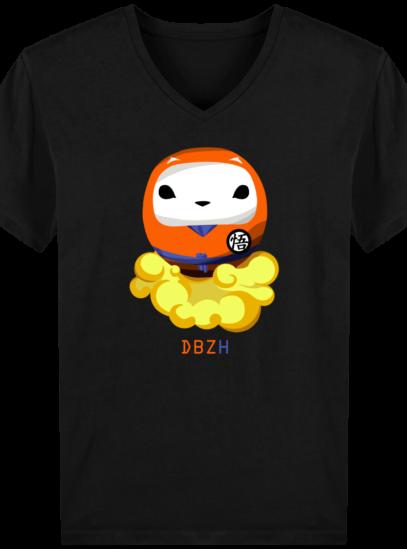 T-Shirt Homme V éthique Dragon BZH - Black - Face
