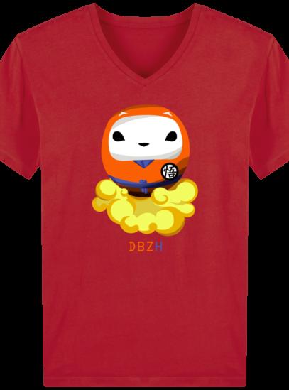 T-Shirt Homme V éthique Dragon BZH - Red - Face
