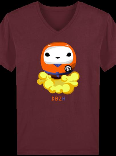 T-Shirt Homme V éthique Dragon BZH - Burgundy - Face