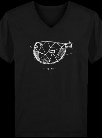 T-Shirt Homme V éthique Fugu time - Black - Face
