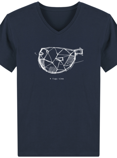 T-Shirt Homme V éthique Fugu time - French Navy - Face