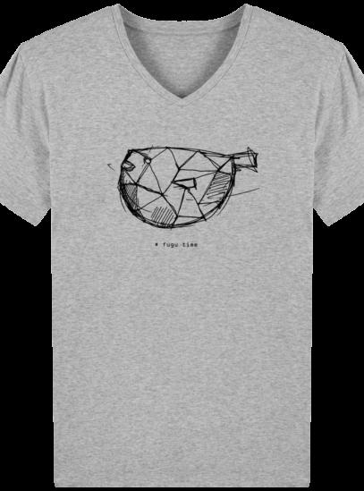T-Shirt Homme V éthique Fugu time - Heather Grey - Face