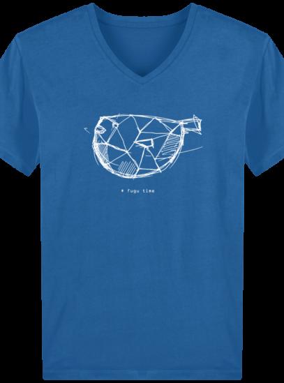 T-Shirt Homme V éthique Fugu time - Royal Blue - Face