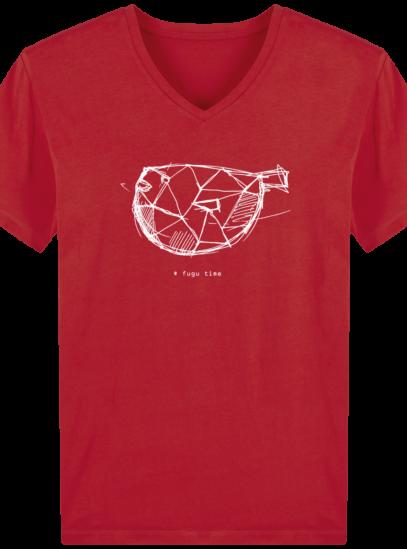 T-Shirt Homme V éthique Fugu time - Red - Face