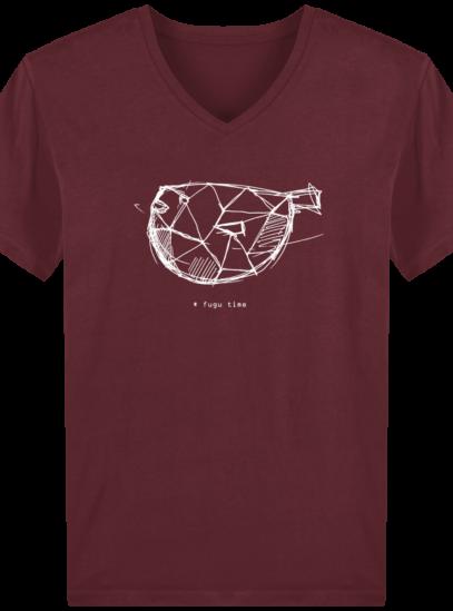 T-Shirt Homme V éthique Fugu time - Burgundy - Face